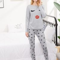 Lip Kiss Shape Printed Cotton Ladies Sleep Dress Night Wear With Shirt And Trouser