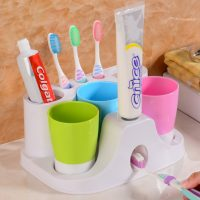 3 CUPS   TOOTHPASTE DISPENSER and Holder 2