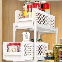 2 Tier Non-Skid Basket Drawers For Easy Access, Organization And Storage