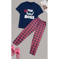 The Real Boss Printed Cotton Ladies Sleep Dress Night Wear With Shirt And Trouser