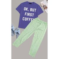 Ok But First Coffee Printed Cotton Ladies Sleep Dress Night Wear With Shirt And Trouser