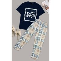 Selfie Printed Cotton Ladies Sleep Dress Night Wear With Shirt And Trouser