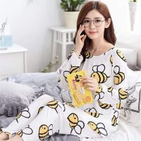 Animal Bee Dos Printed Cotton Ladies Sleep Dress Night Wear With Shirt And Trouser