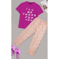 I'll be there for you Printed Cotton Ladies Sleep Dress Night Wear With Shirt And Trouser